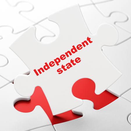 Politics concept: Independent State on White puzzle pieces background, 3D rendering