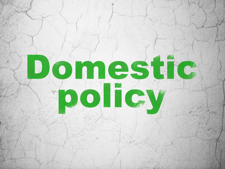 Politics concept: Green Domestic Policy on textured concrete wall background