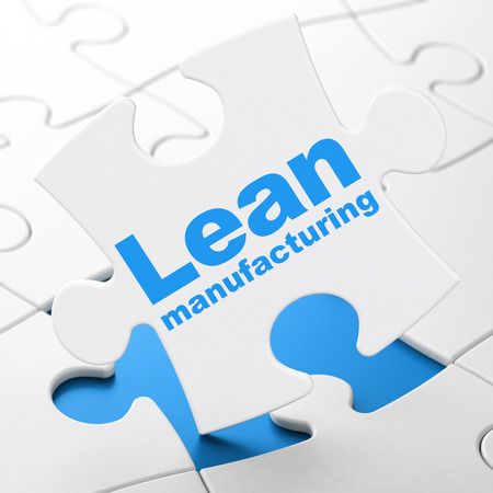 Industry concept: Lean Manufacturing on White puzzle pieces background, 3D rendering Stock Photo