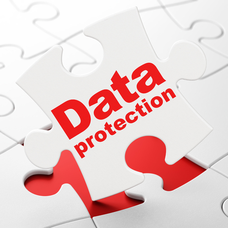 Privacy concept: Data Protection on White puzzle pieces background, 3D rendering