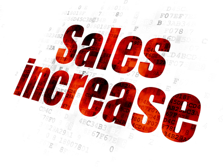 Advertising concept: Pixelated red text Sales Increase on Digital background