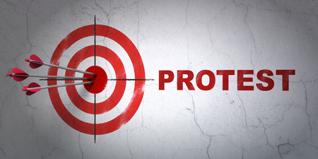 Success political concept: arrows hitting the center of target, Red Protest on wall background, 3D rendering Stock Photo