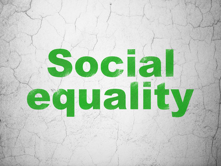 Politics concept: Green Social Equality on textured concrete wall background Stock Photo
