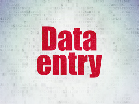 Information concept: Painted red word Data Entry on Digital Data Paper background