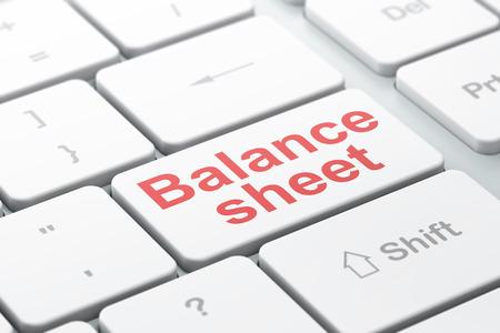 Money concept: computer keyboard with word Balance Sheet, selected focus on enter button background, 3D rendering
