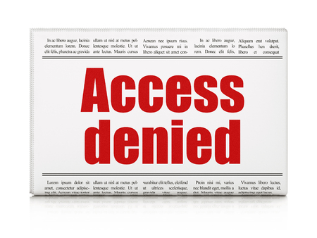 Privacy concept: newspaper headline Access Denied on White background, 3D rendering