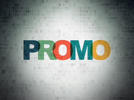 Marketing concept: Painted multicolor text Promo on Digital Data Paper background Banco de Imagens