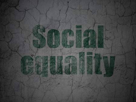 Politics concept: Green Social Equality on grunge textured concrete wall background