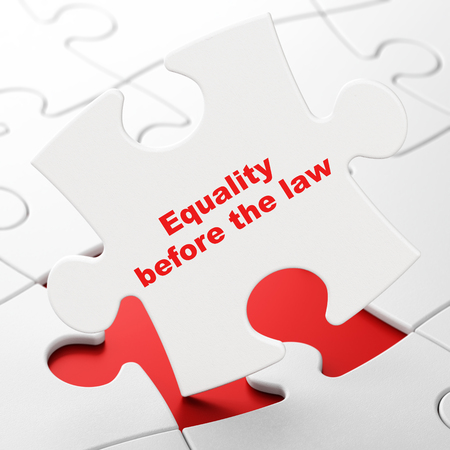 Politics concept: Equality Before The Law on White puzzle pieces background, 3D rendering Stock Photo