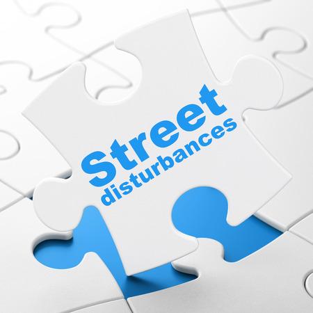 Political concept: Street Disturbances on White puzzle pieces background, 3D rendering Stock Photo