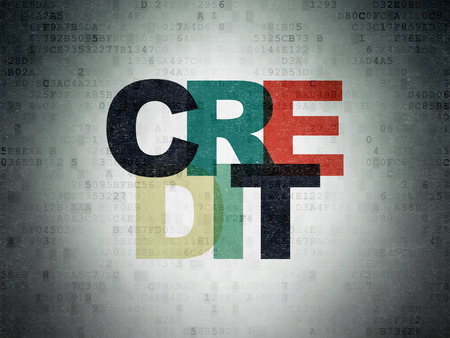 Banking concept: Painted multicolor text Credit on Digital Data Paper background