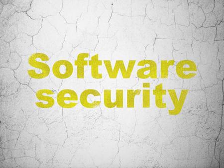 Safety concept: Yellow Software Security on textured concrete wall background