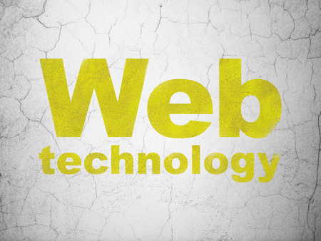 Web development concept: Yellow Web Technology on textured concrete wall background