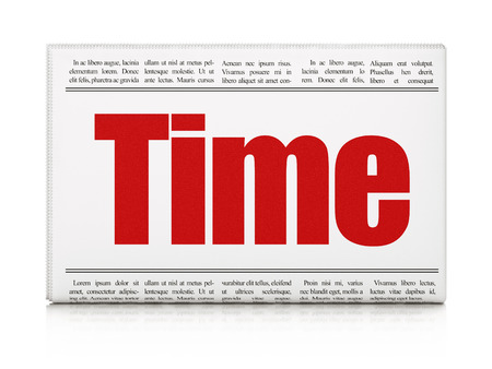 Timeline concept: newspaper headline Time on White background, 3D rendering