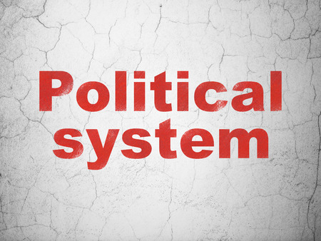 Politics concept: Red Political System on textured concrete wall background Stock Photo