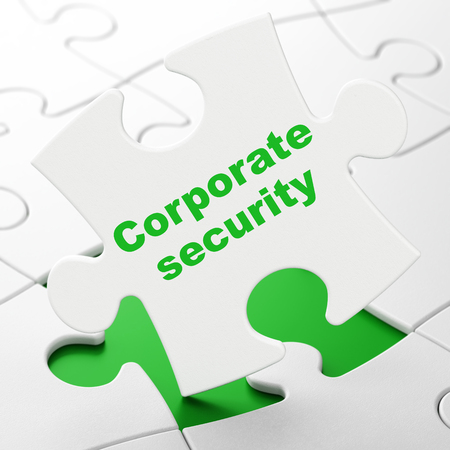 Privacy concept: Corporate Security on White puzzle pieces background, 3D rendering Stock Photo