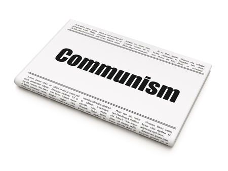Political concept: newspaper headline Communism on White background, 3D rendering 免版税图像