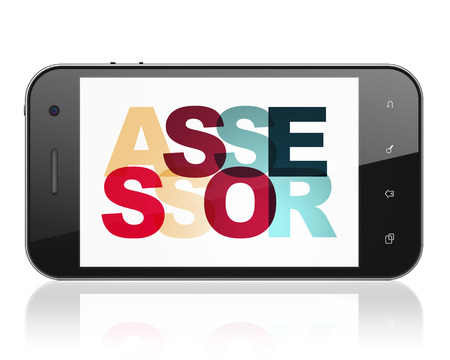 Insurance concept: Smartphone with Painted multicolor text Assessor on display, 3D rendering