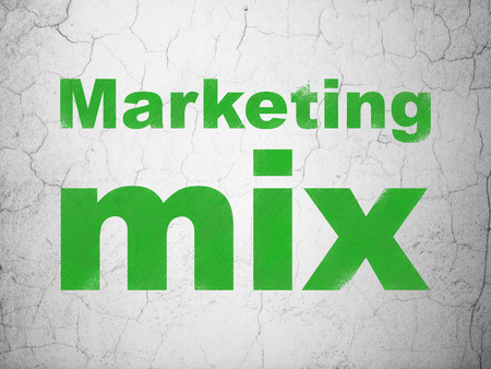 Advertising concept: Green Marketing Mix on textured concrete wall background