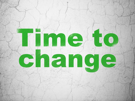 Timeline concept: Green Time to Change on textured concrete wall background
