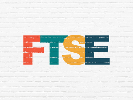 Stock market indexes concept: Painted multicolor text FTSE on White Brick wall background