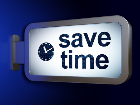 Time concept: Save Time and Clock on advertising billboard background, 3D rendering