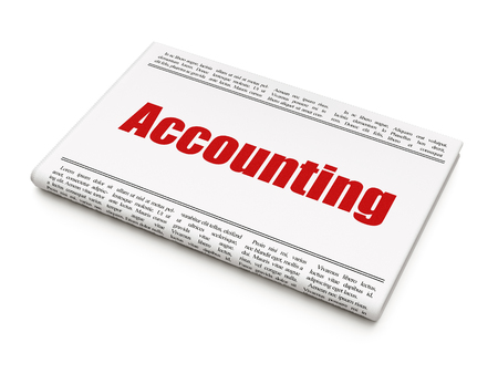 Money concept: newspaper headline Accounting on White background, 3D rendering