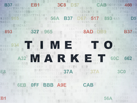 Timeline concept: Painted black text Time to Market on Digital Data Paper background with Hexadecimal Code