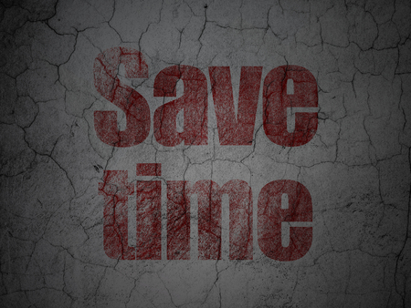 Time concept: Red Save Time on grunge textured concrete wall background