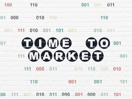 Timeline concept: Painted black text Time to Market on White Brick wall background with Binary Code