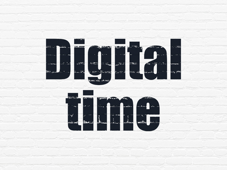 Time concept: Painted black text Digital Time on White Brick wall background