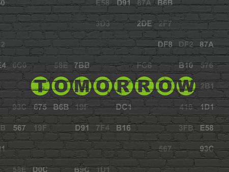 Timeline concept: Painted green text Tomorrow on Black Brick wall background with Hexadecimal Code Stock Photo