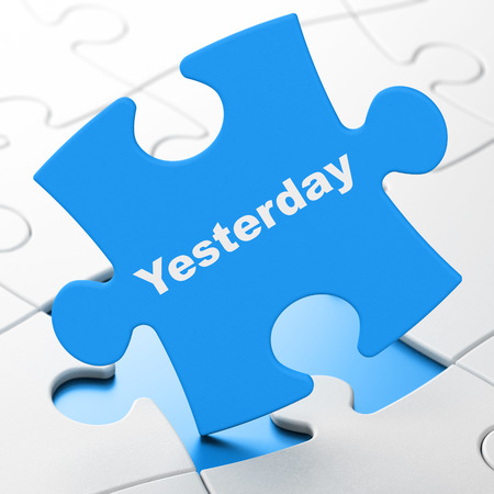 Timeline concept: Yesterday on Blue puzzle pieces background, 3D rendering