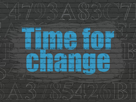 Timeline concept: Painted blue text Time for Change on Black Brick wall background with  Hexadecimal Code