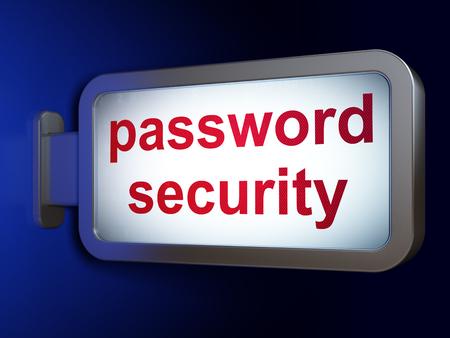 Security concept: Password Security on advertising billboard background, 3D rendering Foto de archivo