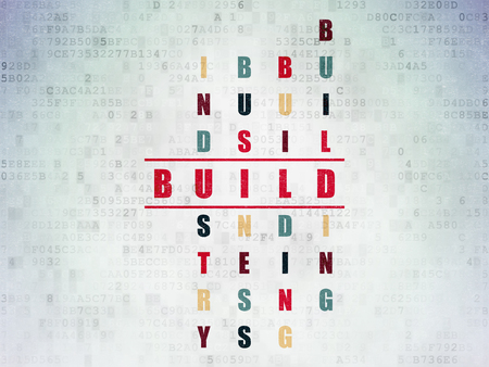 Construction concept: Painted red word Build in solving Crossword Puzzle on Digital Data Paper background