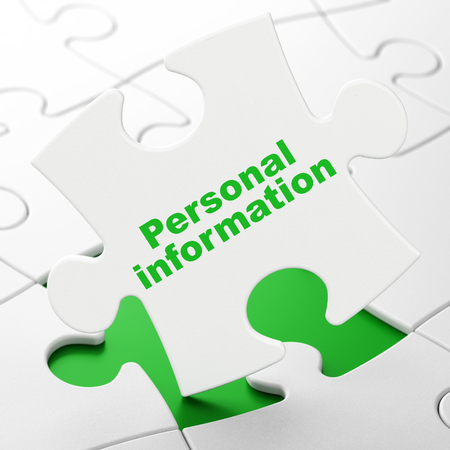 Privacy concept: Personal Information on White puzzle pieces background, 3D rendering Stock Photo