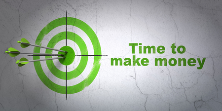 Success timeline concept: arrows hitting the center of target, Green Time to Make money on wall background, 3D rendering