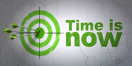 Success time concept: arrows hitting the center of target, Green Time is Now on wall background, 3D rendering