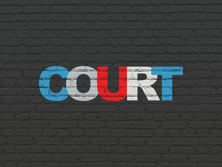 Law concept: Painted multicolor text Court on Black Brick wall background