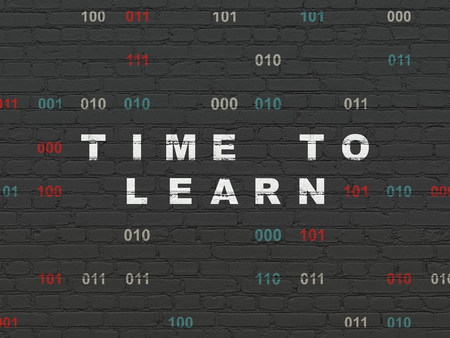 Timeline concept: Painted white text Time to Learn on Black Brick wall background with Binary Code