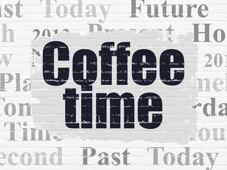Time concept: Painted black text Coffee Time on White Brick wall background with  Tag Cloud