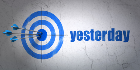 Success time concept: arrows hitting the center of target, Blue Yesterday on wall background, 3D rendering