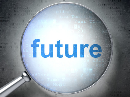 Timeline concept: magnifying optical glass with words Future on digital background, 3D rendering