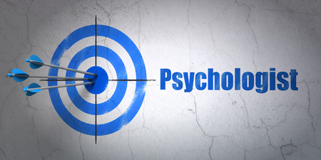Success Health concept: arrows hitting the center of target, Blue Psychologist on wall background, 3D rendering