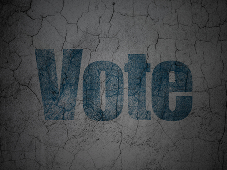 Political concept: Blue Vote on grunge textured concrete wall background