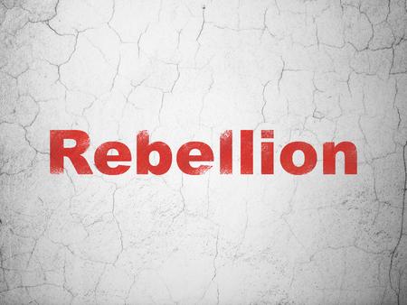 Concepto de política: rebelión roja sobre fondo de muro de hormigón con textura