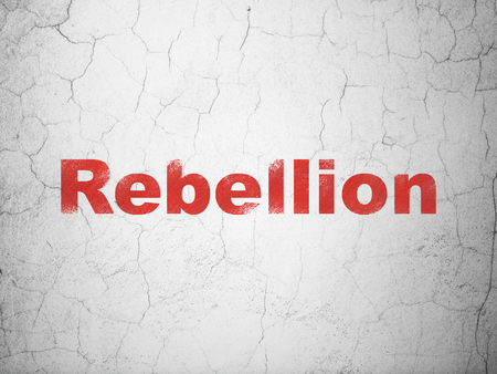 Politics concept: Red Rebellion on textured concrete wall background Banco de Imagens