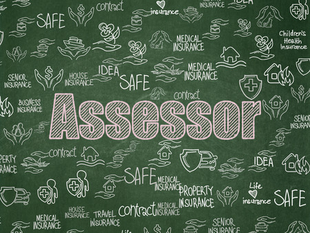 Insurance concept: Chalk Pink text Assessor on School board background with  Hand Drawn Insurance Icons, School Board