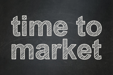 Time concept: text Time to Market on Black chalkboard background